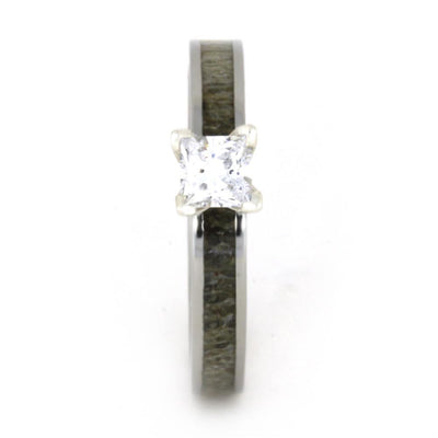 Deer Antler Engagement Ring With Princess Cut Diamond-3286 - Jewelry by Johan