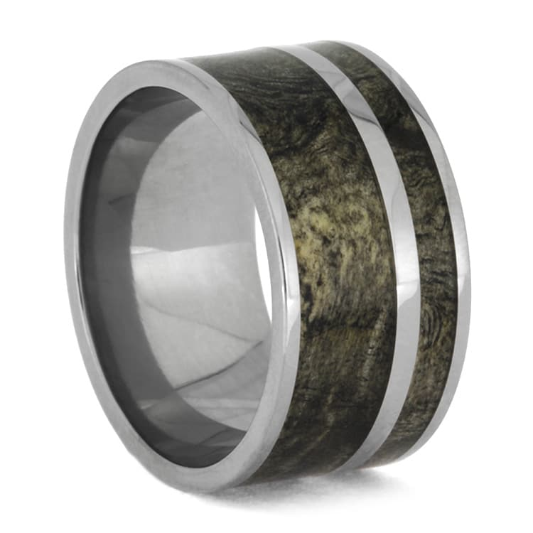 Buckeye Burl Wedding Band With Titanium Pinstripe, Size 10-RS9968 - Jewelry by Johan
