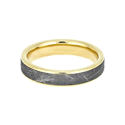 Gibeon Meteorite Wedding Band, Narrow Ring With 14k Yellow Gold-3627