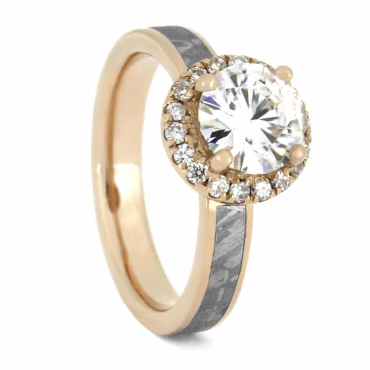 Moissanite Halo Engagement Ring, Meteorite Ring in 14K Rose Gold-3356 - Jewelry by Johan