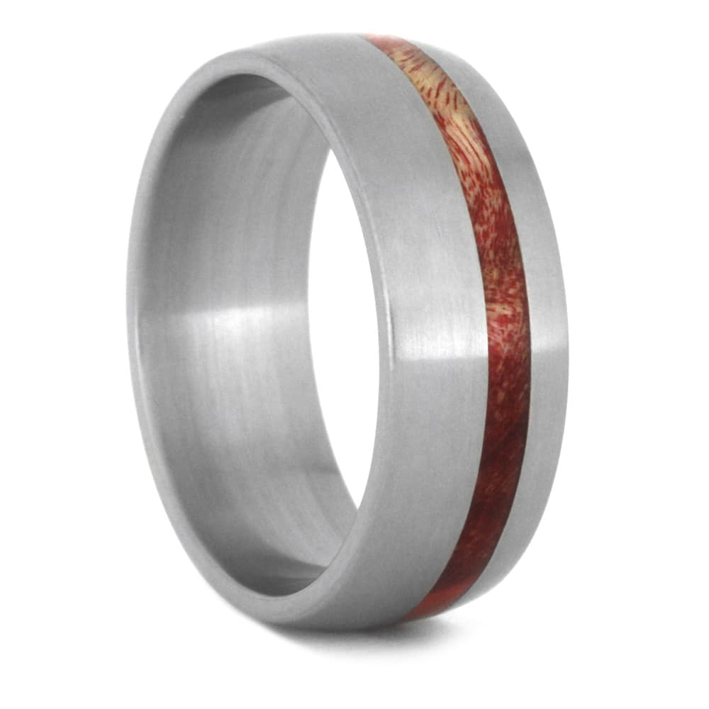 Red Box Elder Burl Wood Wedding Band, Eco Friendly Ring In Titanium-3509