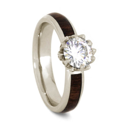 Lotus Flower Engagement Ring With Moissanite And Caribbean Rosewood Band-3608 - Jewelry by Johan