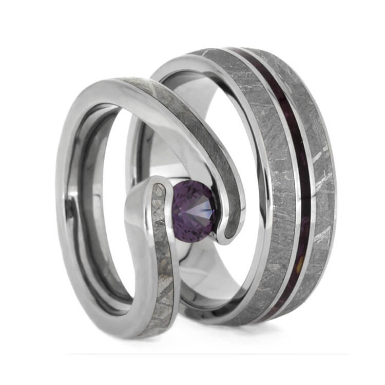 Gibeon Meteorite Wedding Ring Set, Alexandrite Engagement Ring And Purple Pinstriped Wedding Band-2402