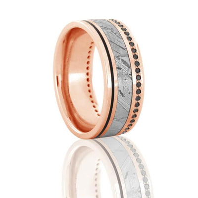 Black Diamond Ring, Seymchan Meteorite Wedding Band in Rose Gold-DJ1022RG - Jewelry by Johan