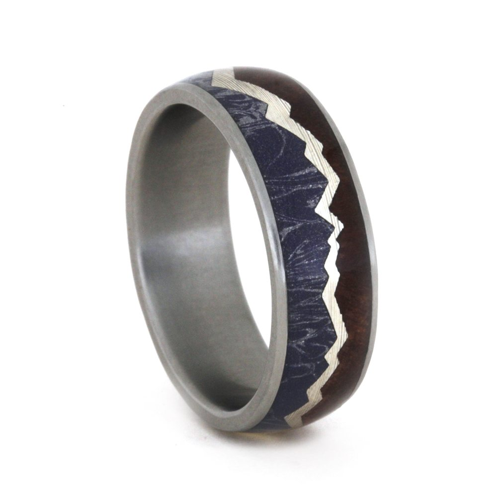 Mountain Redwood Ring With Mokume And Sterling Silver-3392 - Jewelry by Johan