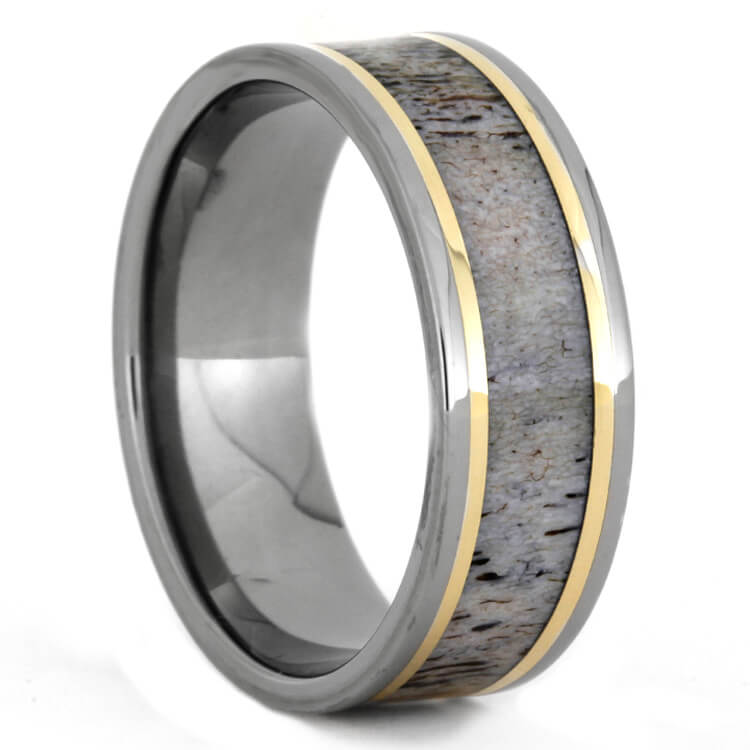 Men's Antler Wedding Band With Yellow Gold Pinstripes