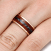 Gold Wedding Band With Crushed Black Pearl And Amboyna-2205 - Jewelry by Johan