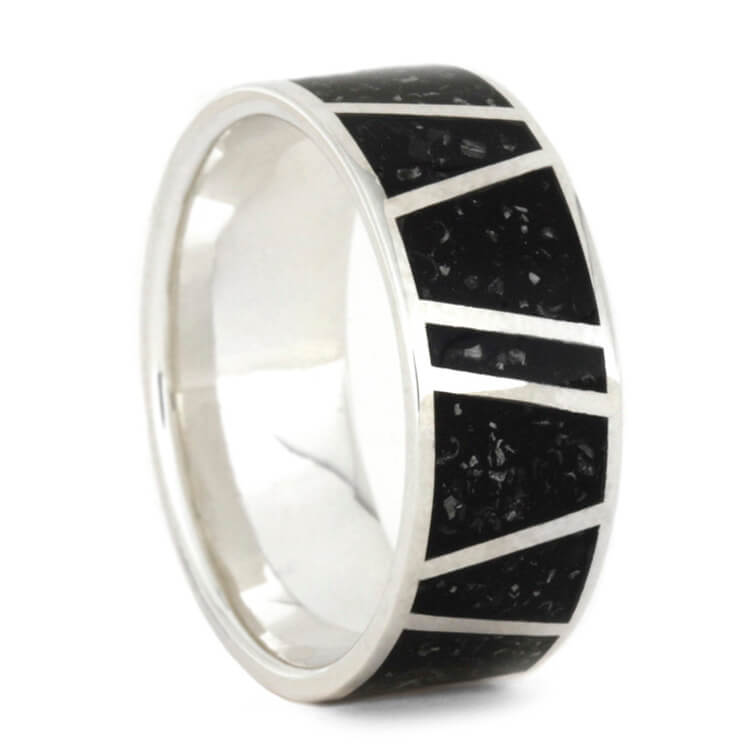 Black Stardust Wedding Band For Men In Sterling Silver