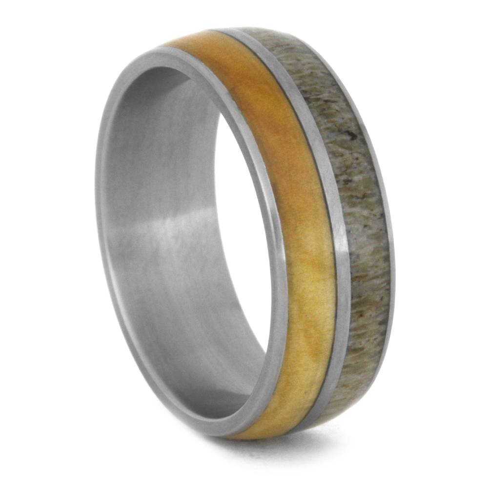Birch Wood And Antler Men's Wedding Band In Matte Titanium