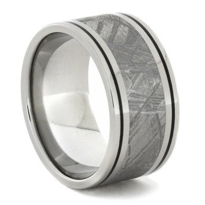 Meteorite Ring with Black Enamel Pinstripes, Titanium Men's Wedding Band-1661 - Jewelry by Johan