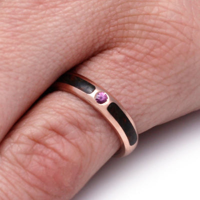 Rose Gold Pinky Ring with Pink Sapphire and Dinosaur Bone-2908 - Jewelry by Johan