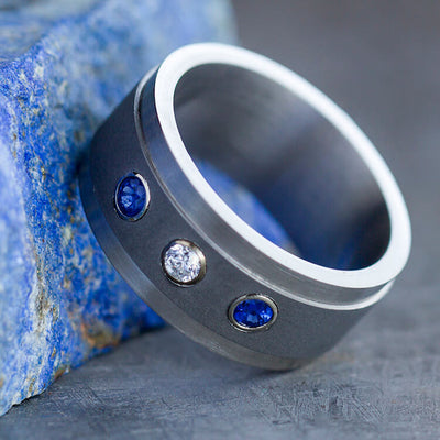 Titanium Ring with Diamond and Blue Sapphires Set in Yellow Gold-1814
