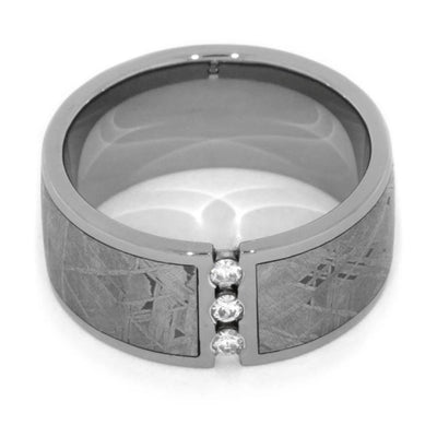 Moissanite Men's Wedding Band with Gibeon Meteorite in Titanium-1137 - Jewelry by Johan