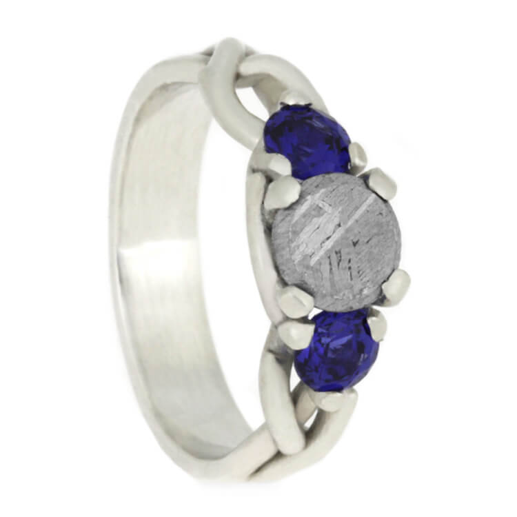 Meteorite Stone Engagement Ring With Blue Sapphires in Sterling Silver
