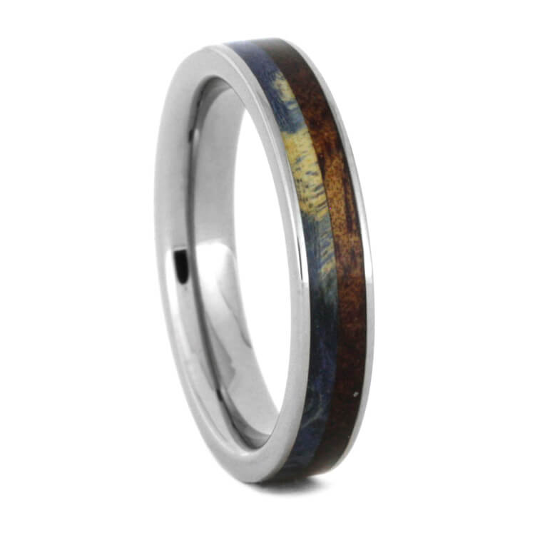 Blue Box Elder Burl And Whiskey Barrel Wood Ring, Size 6.75-RS9261 - Jewelry by Johan