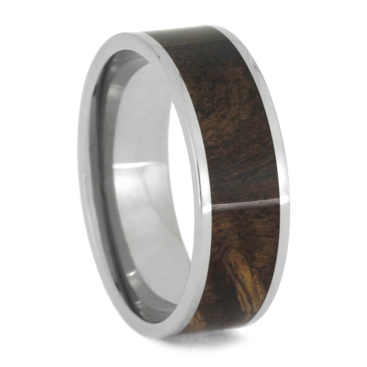 Sindora Wood Men's Wedding Band In Polished Titanium, Size 12-RS9900 - Jewelry by Johan