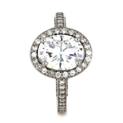 10k White Gold Engagement Ring with Halo Style Moissanites-2847 - Jewelry by Johan