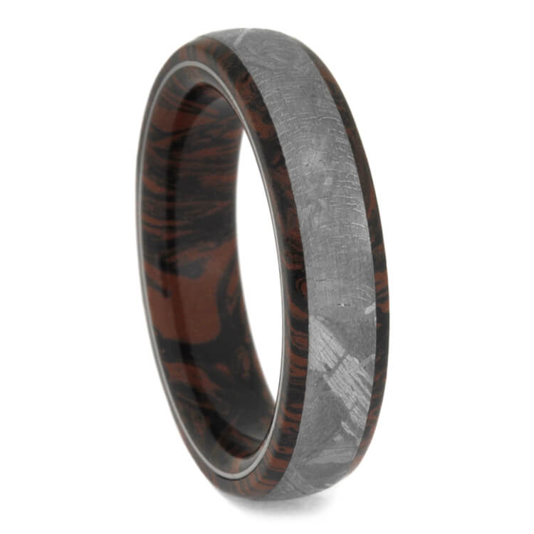 Men's Red and Black Mokume Gane Wedding Ban With Meteorite