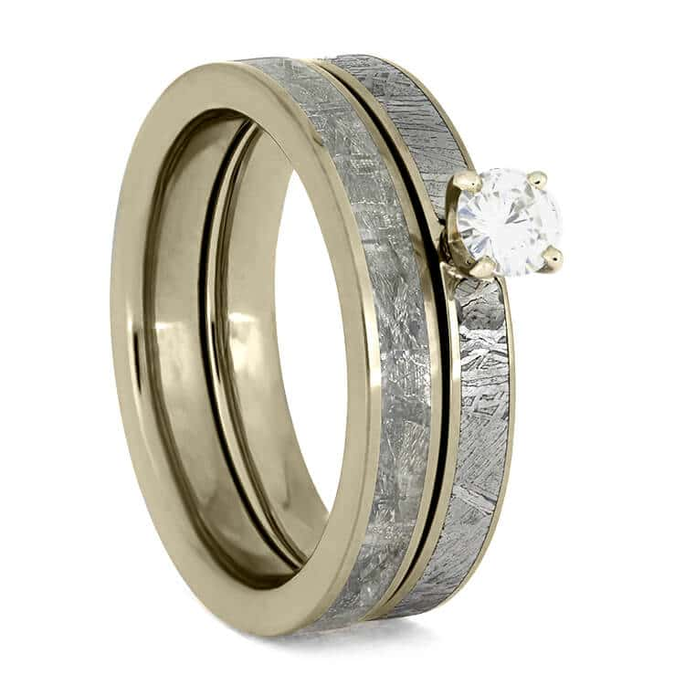 White Gold Bridal Set With Meteorite Inlays, Diamond Engagement Ring-3735 - Jewelry by Johan