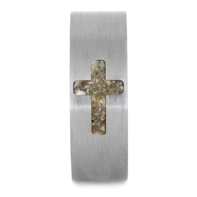 Cross Ring, Pet Memorial Band With Titanium And Cross Inlay-2704 - Jewelry by Johan