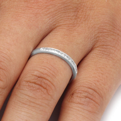 Diamond Wedding Band in Sterling Silver On a Hand
