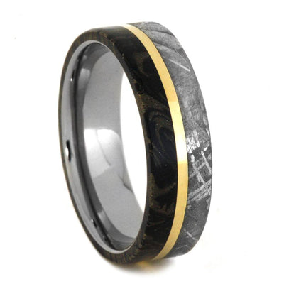 Meteorite And Mokume Wedding Band with Gold Pinstripe