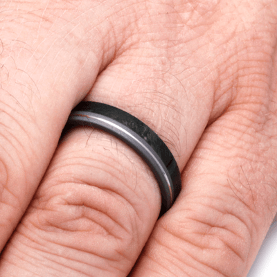 Thin Women's Wedding Band with Wood