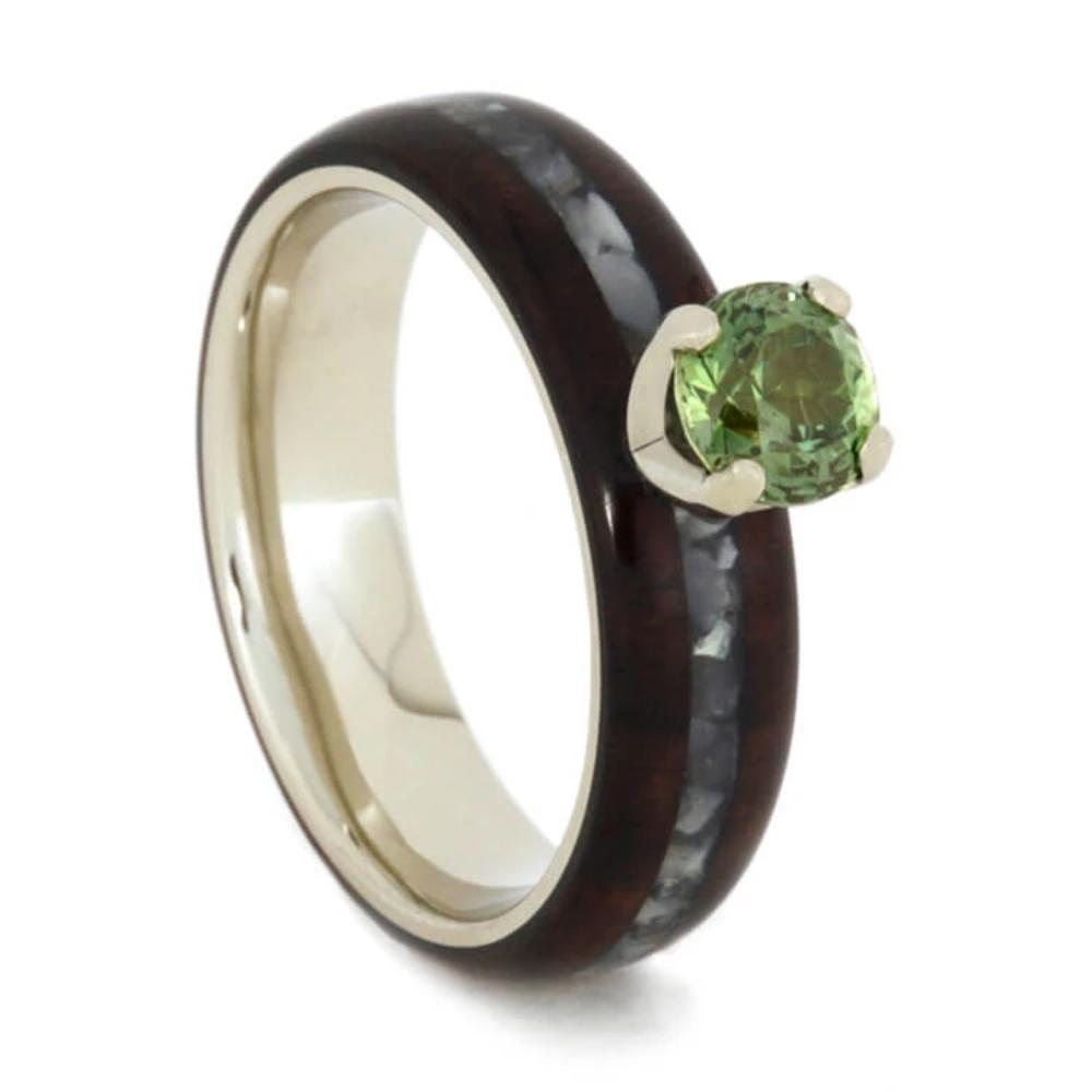 Peridot Ring with Mother of Pearl and Bolivian Rosewood-1792