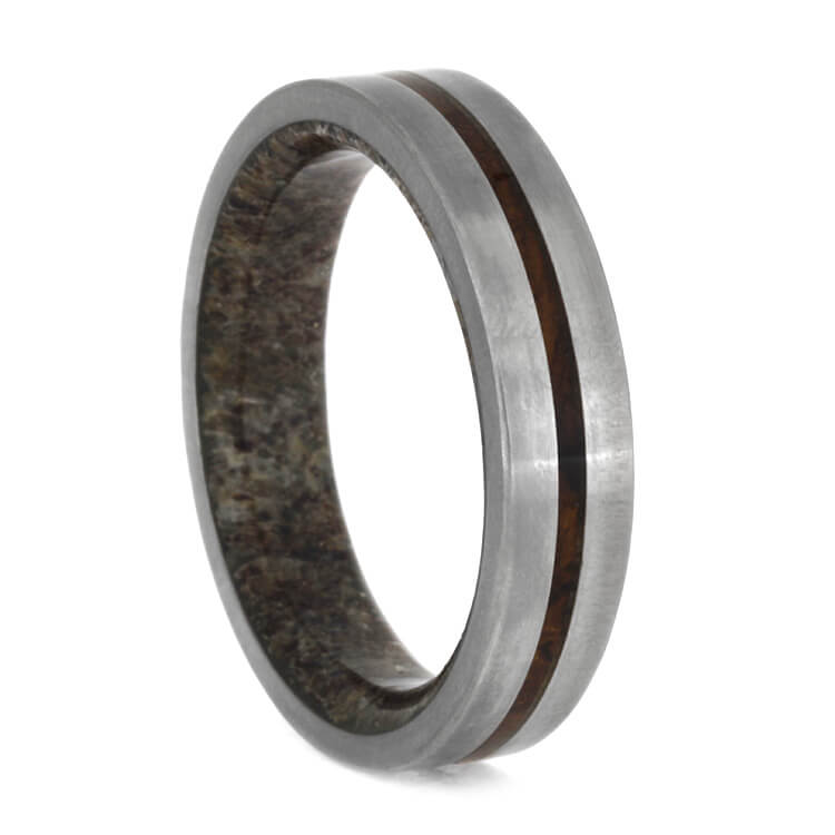 Titanium Ring With Ironwood Burl And Antler Sleeve, Size 8-RS10018 - Jewelry by Johan