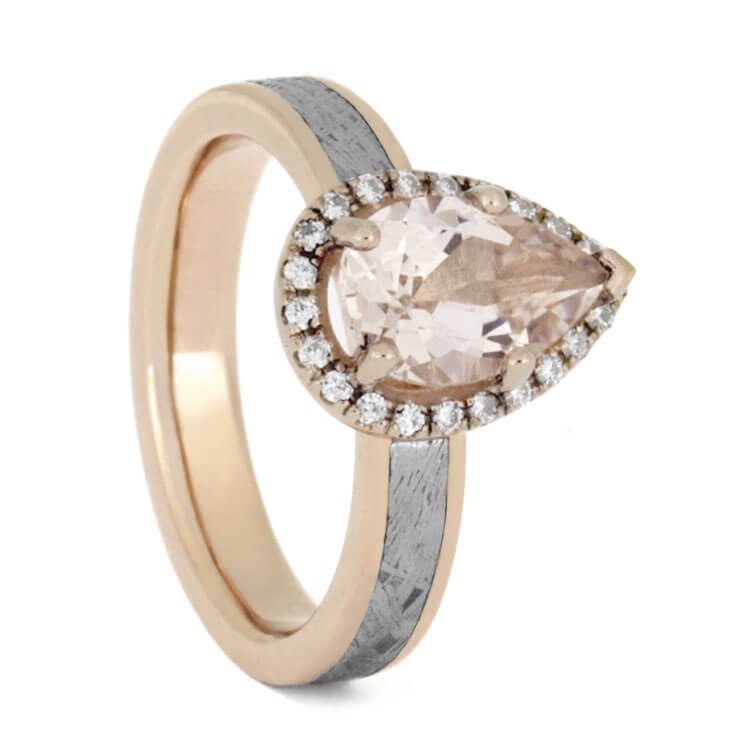 Morganite Engagement Ring In 14k Rose Gold With Meteorite, Moissanite Halo Ring