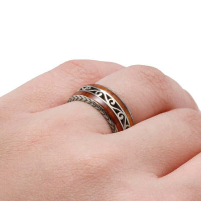 Custom Cherry Wood Wedding Band, Vintage Inspired Ring in White Gold-DJ1015WG - Jewelry by Johan