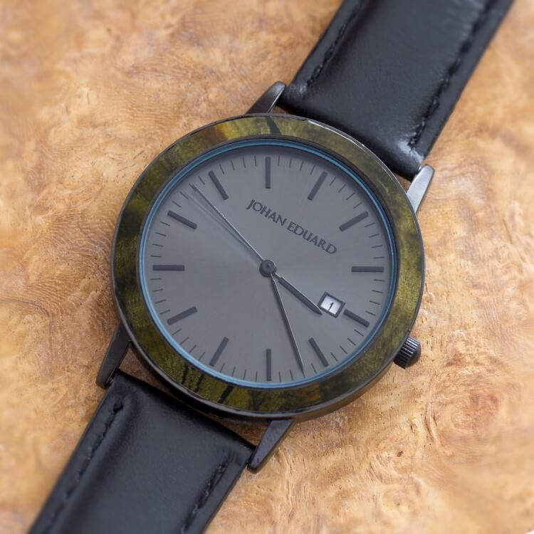Matte Black Watch With Black Face, Shown With Buckeye Burl