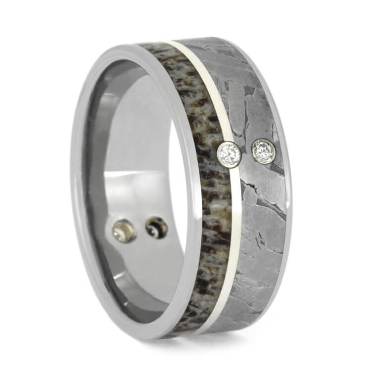 Diamond Wedding Ring For Men With Antler And Meteorite