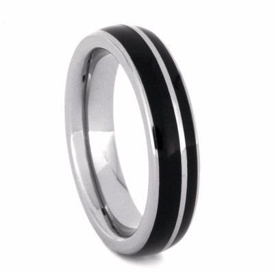 Brazilian Wood Wedding Band with Titanium-2230 - Jewelry by Johan