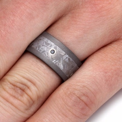 Sterling Silver Bezel Set Black Diamond Ring with Meteorite-2110 - Jewelry by Johan