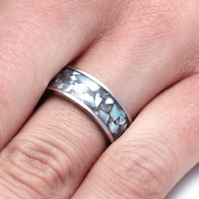 Crushed Abalone Ring with Titanium Band  (5)