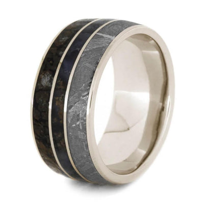 White Gold Men's Band with Meteorite, Dinosaur Bone, & Petrified Wood-2021 - Jewelry by Johan