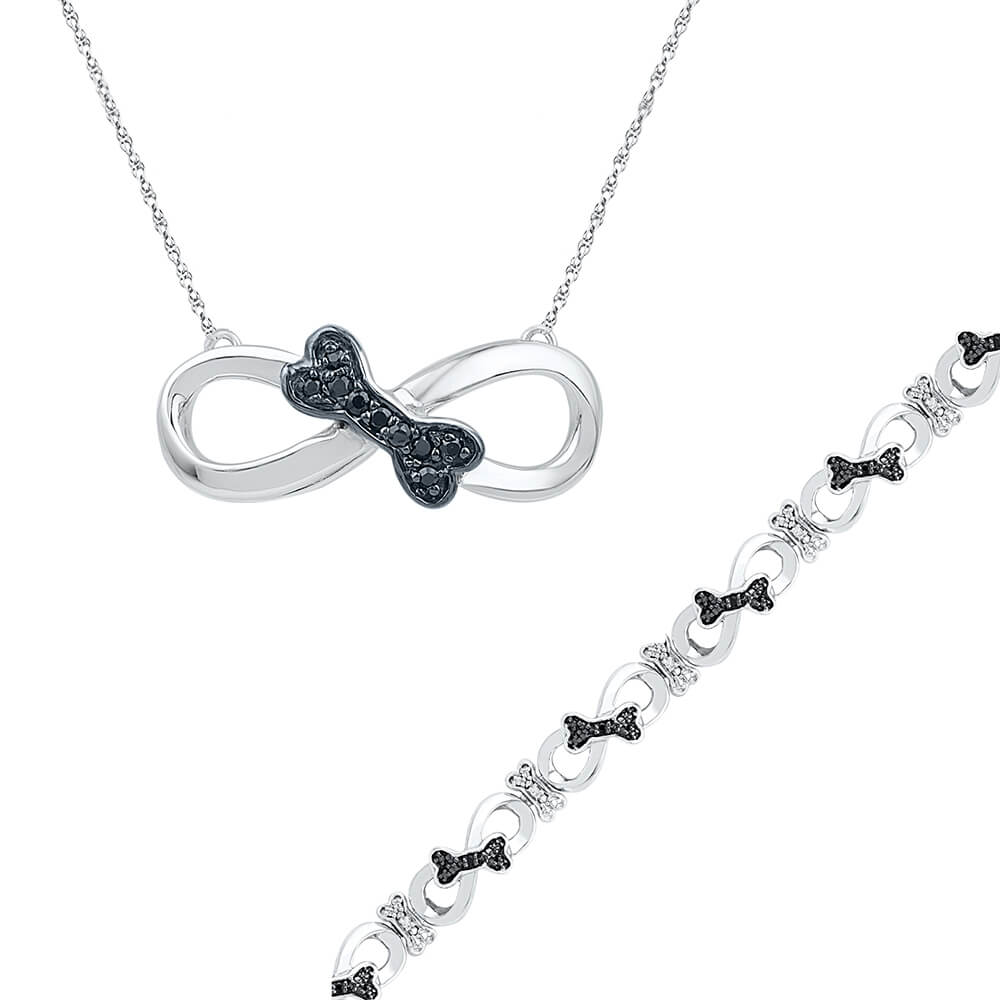 Black Diamond Necklace and Bracelet Gift Set in Sterling Silver-SHGS3009 - Jewelry by Johan