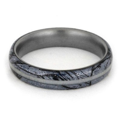 Mokume Gane Ring with Deer Antler Pinstripe and Titanium-1903 - Jewelry by Johan