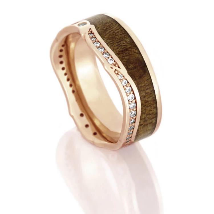 Diamond Eternity Wedding Band in Rose Gold With Maple Wood-DJ1018RG - Jewelry by Johan