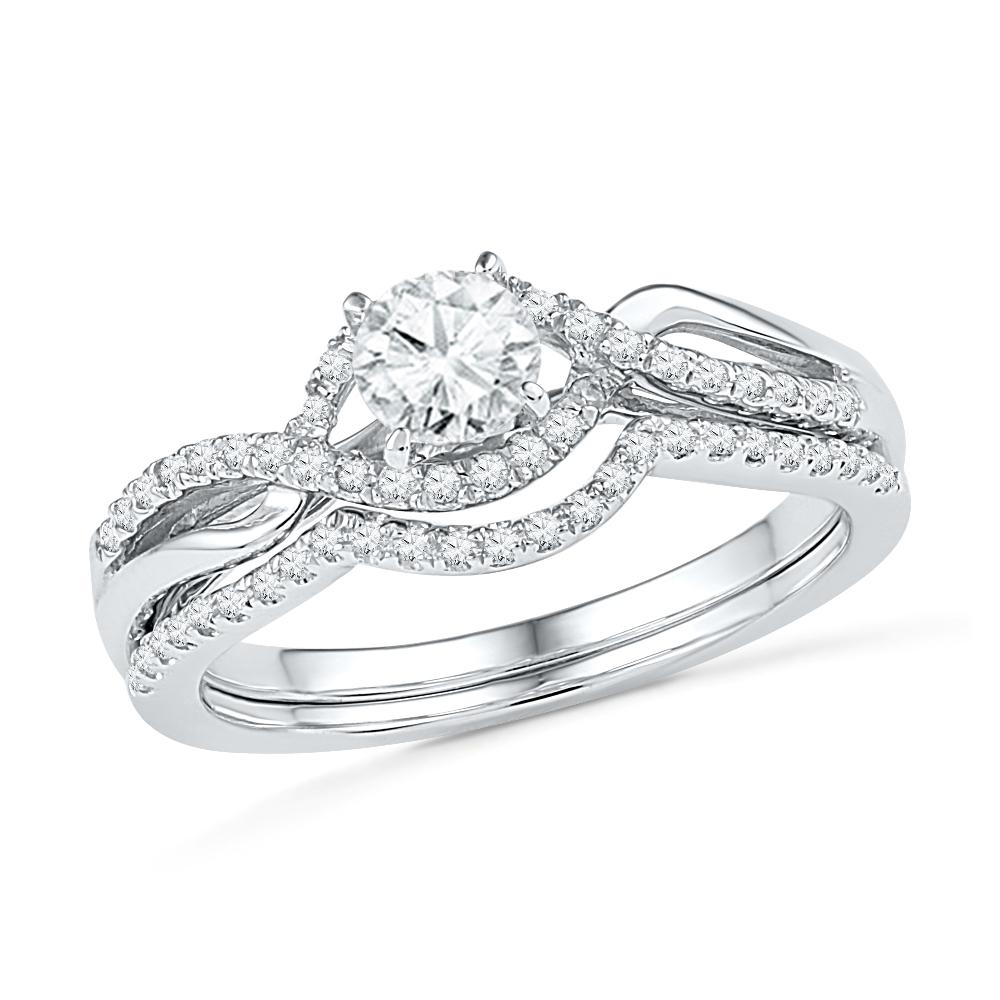Sterling Silver Diamond Twist Engagement Ring Set, White Gold/Sterling Silver-SHRB030400-SS - Jewelry by Johan