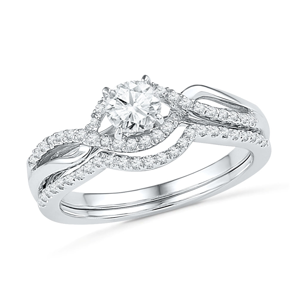 1/2 CT. T.W. Diamond Twist Engagement Ring Set, White Gold Size 7.5-RSSH30400 - Jewelry by Johan