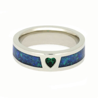 Heart Emerald Engagement Ring With Synthetic Opal in White Gold-2761 - Jewelry by Johan