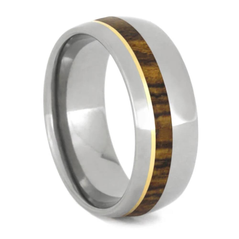 Bocote Wood Wedding Band With 14k Yellow Gold, Titanium Ring-1092 - Jewelry by Johan