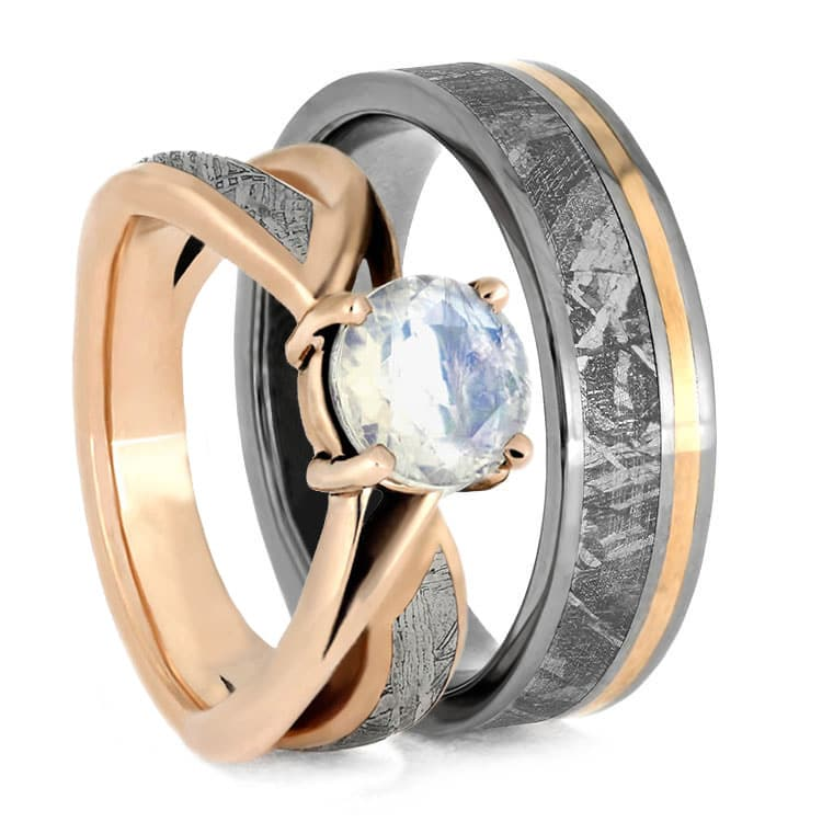 Stellar Rose Gold Wedding Ring Set, Moonstone Engagement Ring And Meteorite Wedding Band-3630 - Jewelry by Johan