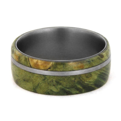 Wood Wedding Band, Green Box Elder Burl, Titanium Ring-3346 - Jewelry by Johan
