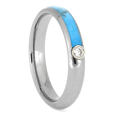 Turquoise Wedding Band Set With Moissanite In Titanium-3480 - Jewelry by Johan