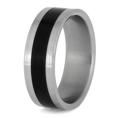Titanium Wedding Band Inlaid With Black Enamel Middle-1395 - Jewelry by Johan