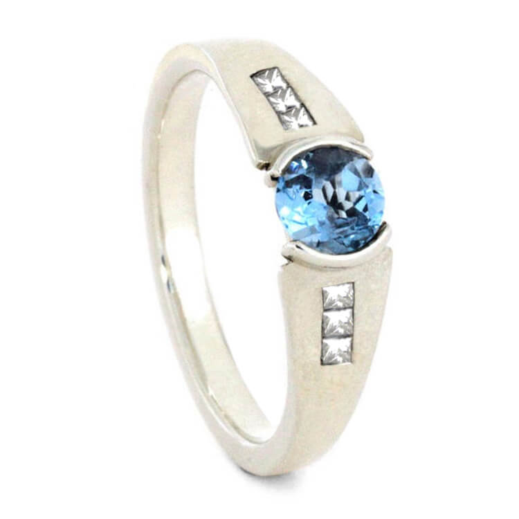 Sky Blue Topaz Engagement Ring Styled In Sterling Silver-2187 - Jewelry by Johan