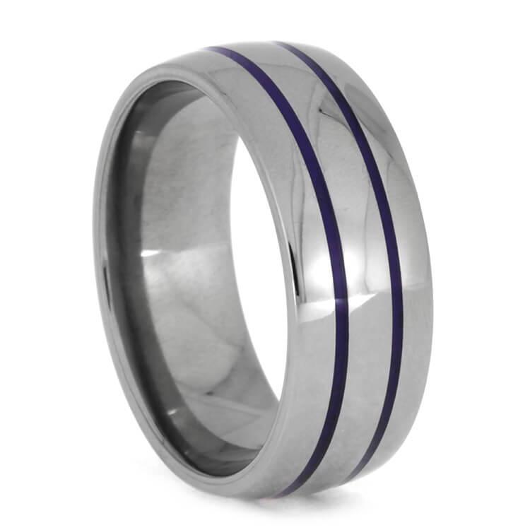 Titanium Men's Wedding Band With Purple Enamel Pinstripes, Size 10-RS9969 - Jewelry by Johan